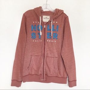 Hollister hoodie red zip up long sleeves spell out